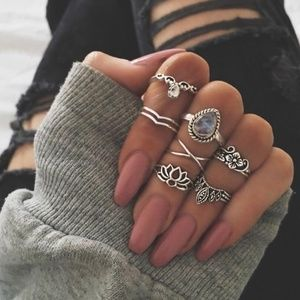7 Pc Retro Midi Ring Set